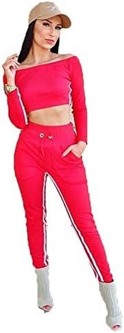 スポーツスーツ、セクシーなスリムストレッチウェビング、女性、ロングスリーブショートトップ+パンツ女子体操服,赤