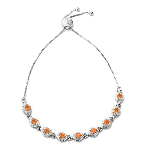 - 925 Sterling Silver Platinum Plated Fire Opal Zircon Orange Strand Sliding Bolo Chain Bracelet for Women Cttw 1.4 Adjustable