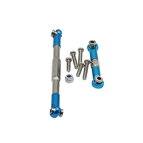 RCAWD Steering Tie Rod Set WPL1608 for WPL Henglong B1 B-14 B-16 C-14 C-24 B-24 B-26 JJRC Q61 Q60 4x4 and 6x6 Military Truck&Crawler(Blue)