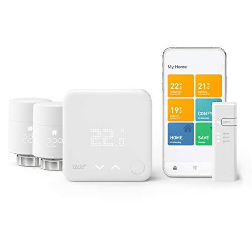 tado° Smart Thermostat – Multi-Room Control Starter Kit V3+, includes 2x Add-on Smart Radiator Thermostat (vertical…