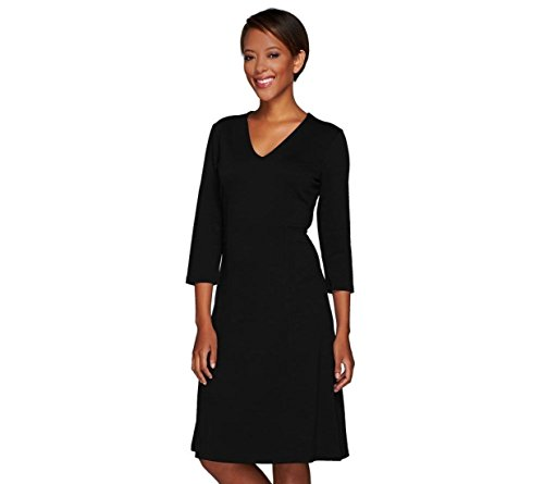 Liz Claiborne NY V-Neck Ponte Knit Dress A267259, Black, 16