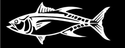 Saltwater Fish Decal - White Vinyl Decal Tuna Fish Fishing Ocean Salt Water Boat Sticker Truck Fun, Die Cut Decal Bumper Sticker for Windows, Cars, Trucks, Laptops, Etc.