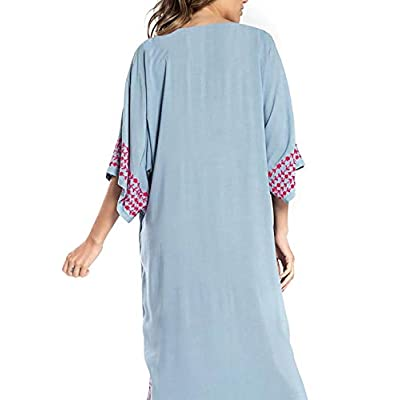 Ailunsnika Women V Neck Embroidered Beachwear Swimsuit Cover Up Sexy Side Slit Long Turkish Kaftan Dress at Women's Clothing store
