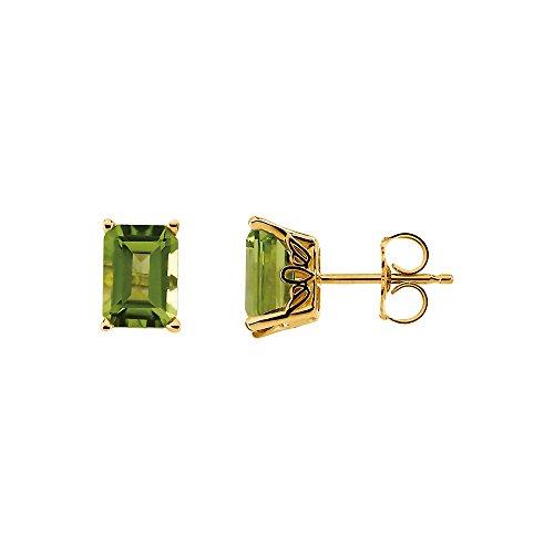 Emerald Octagon Cut Peridot Stud Earrings in 14k Yellow (Emerald Cut Peridot Post Earrings)