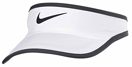 Nike Unisex Featherlight Adjustable Visor Hat, White/Black