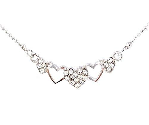 NF-HEART-005 Heart Pendant Necklace, Rhinestone Pendant Necklace 16