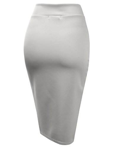 CLOVERY Pencil Skirts Plus Size Casual Skirt Elastic Waist Band Scuba Streychy Solid Color Grey L by CLOVERY (Image #2)