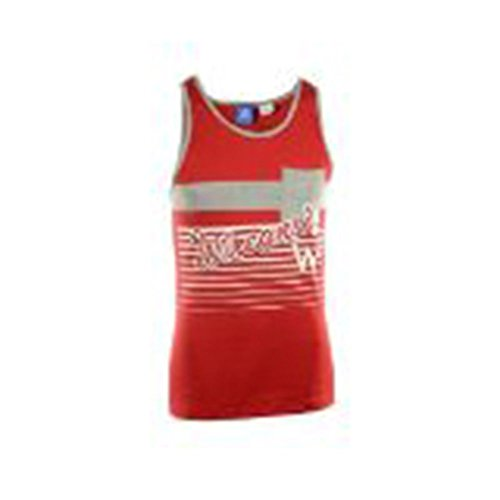 (Wisconsin Badgers Adidas Mens Cursive Striped Tank Top (Small) )