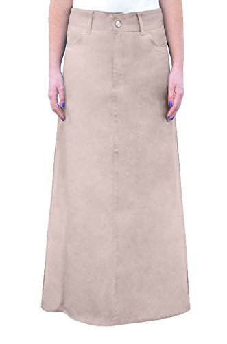 Kosher Casual Women's A-Line Modest Long Cotton Light-Weight Twill Maxi Skirt XL Beige