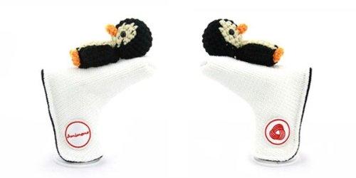 Amimono Penguin Putter Golf Head Cover, White/Black/Beige