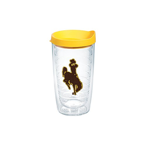 Tervis 1062565 Wyoming Cowboys Logo Tumbler with Emblem and Yellow Lid 16oz, Clear (Polyester University Logo)