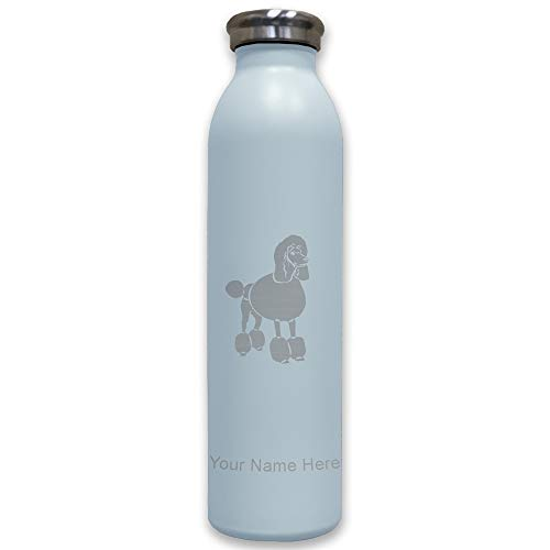 (Lasergram Sports Water Bottle, French Poodle Dog, Personalized Engraving Included (Light Blue))