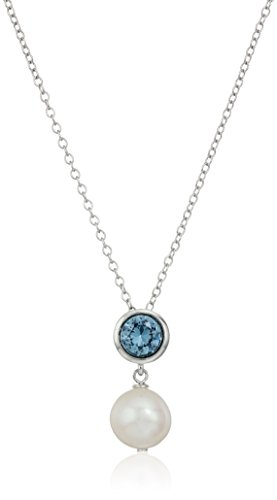 Aquamarine Pearl Necklace - Sterling Silver Bezel Set Created Aquamarine and Freshwater Cultured Pearl Drop Birthstone Pendant Necklace, 18