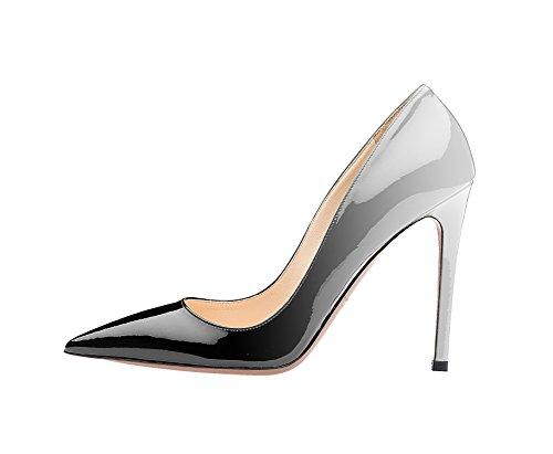 Guoar Donna Stiletto Scarpe Di Grandi Dimensioni Scarpe A Punta Da Donna Pompe Solide Per Lavoro Vestito Da Ballo Partito D-grigio Nero