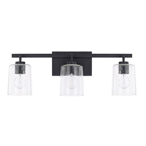 (Capital Lighting 128531MB-449 Homeplace/Greyson - Three Light Bath Vanity, Matte Black Finish with Clear Seeded Glass)