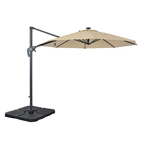 suna outdoor Patio Umbrella, Offset Cantilever Umbrella 10-Feet Outdoor Patio Hanging Umbrella with Solar LED Light and Cross Base, 8 Ribs, Beige