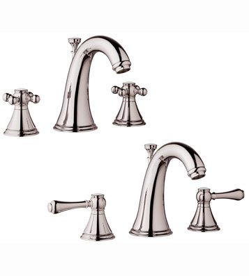 Widespread Lav Faucet Polished Brass - Grohe Geneva 20801BE0 Two Handle Widespread Lav Faucet