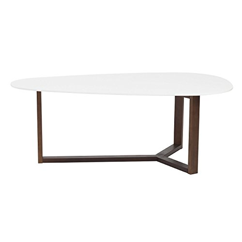 Euro Style Morty Matte White Top Coffee Table with Walnut Finish Base