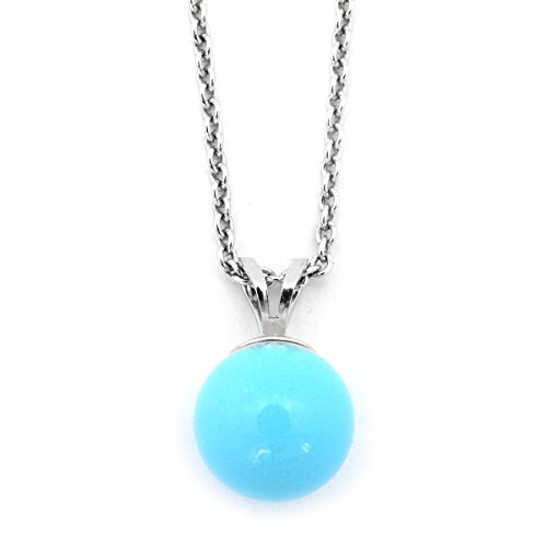 Solid Sterling Silver Rhodium Plated 9mm Simulated Blue Turquoise Pendant Necklace, pendant only