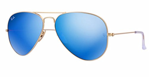 ORIGINAL Ray Ban RB 3025 112/17 Mirrored Flash Lens Aviator Sunglasses-55mm (Matte Gold/Crystal Blue Green Mirror)