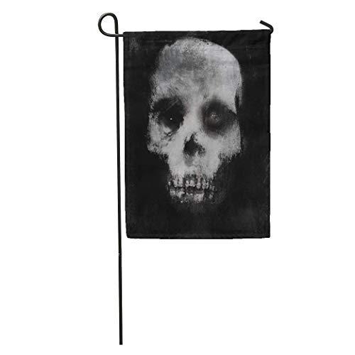 YhouqukehTshirt Garden Flag Face Scary of Skull Horror Spooky Halloween White Black Bone Home Yard House Decor Barnner Outdoor Stand 12x18 Inches Flag -