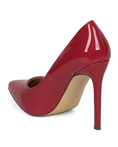 Alrisco Women Stiletto Pump - Pointy Toe Stiletto Heel - Wedding Special Occasion Party Fashion Pumps - HD77 by Liliana Collection Red Patent 2mjzA