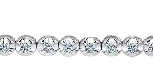 Beverly Hills Jewelers 1.00 Carat tw Beautiful White Gold Round Brilliant Cut Shiny White (I Clarity) Diamond Ladies Tennis Bracelet.Secure Double Clasp. Bracelet Box Included. by Beverly Hills Jewelers (Image #1)