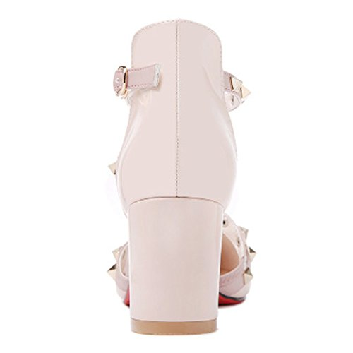 Women's Women's Mirror Shallow Pink Shoes Waterproof Platform Rivet Pointed Fashion Sandals Sandals Summer vxdFqwBB