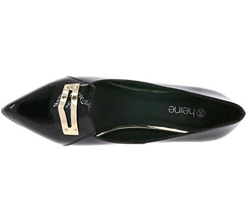 Heine Chaussures en Cuir Verni en Cuir Véritable Noir