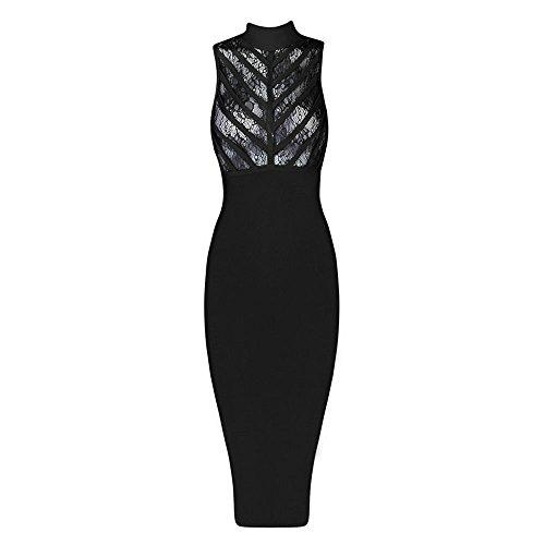 HLBandage Women Lace Sleeveless Midi Bodycon Bandage Dress Negro
