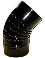 WOLFPACK 22011107 Codo Estufa Color Negro Vitrificado de 110mm 45°