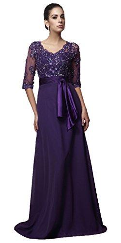 c6f69b16606 Snowskite Women s V-neck Half Sleeves Chiffon Beaded Mother of the Bride  Dress Purple 0