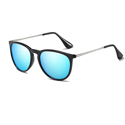 Dollger Retro Round Sunglasses Polarized Brand Style Woman Classic Vintage Blue Designer UV400 ()