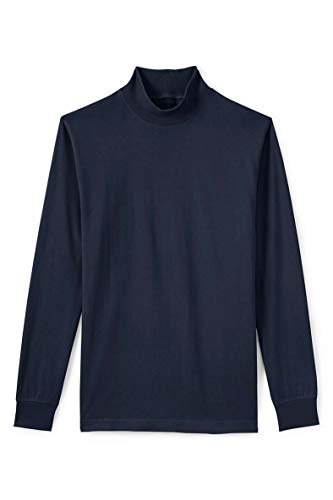 Maks Interlock Knit Mock Turtlenecks Supper Soft 100% Combed Cotton Ski Casual Pullover Top (Navy, XL) (Cotton Turtleneck Shirt)