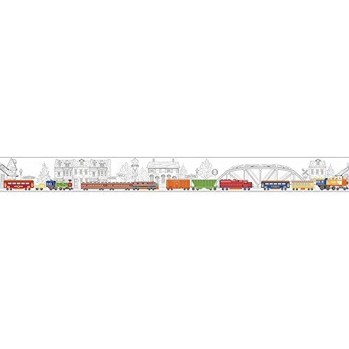 (York Wallcoverings Growing Up Kids All Aboard! Removable Wallpaper Border White, Yellow, Orange, Blue, Black, Red, Grey)