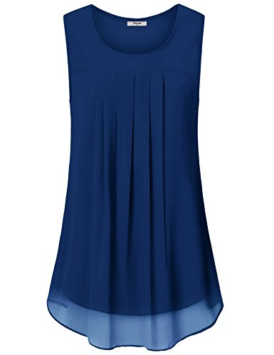 Timeson Tops for Women Summer, Women's Sleeveless Chiffon Teal Blouse Pleated Front Scoop Neck Double Layers Tunic Tanks Tops for Summer for Junior Royal Blue Medium (Tunic Double Layer)