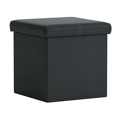 31CgiJlbLYL - Otto-Ben-15-Storage-Ottoman-with-Memory-Foam-Seat-Folding-Small-Square-Foot-Rest-Stools-Table-Ottomans-Bench-with-Faux-Leather-Black