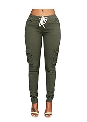 OLUOLIN Womens Solid Color Stretch Drawstring Skinny Pants Cargo Joggers (Size S-XXXL)