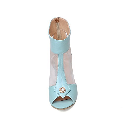 AllhqFashion Womens PU Solid Zipper Open Toe Kitten-Heels Sandals Blue QeyyLW7B8