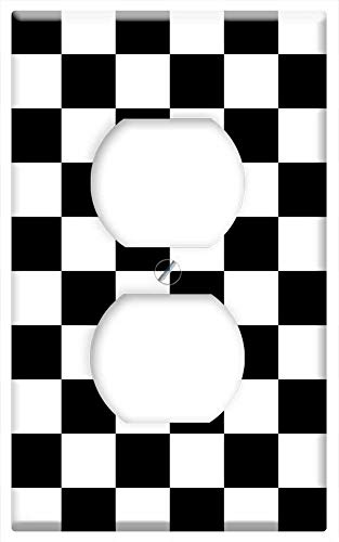 - Switch Plate Outlet Cover - Pattern Checkered Checkerboard Black White Squares