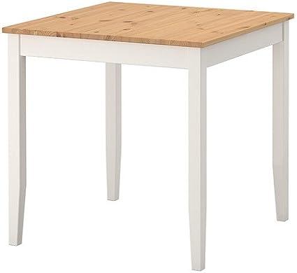 Ikea LERHAMN - Mesa, tinte antiguo claro, mancha blanca - 74x74 cm