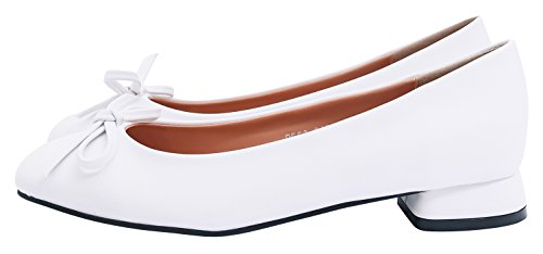 AnnaKastle Womens Vegan Leather Classic Low Heel Pumps with Bow Daily Shoes QXX3whN