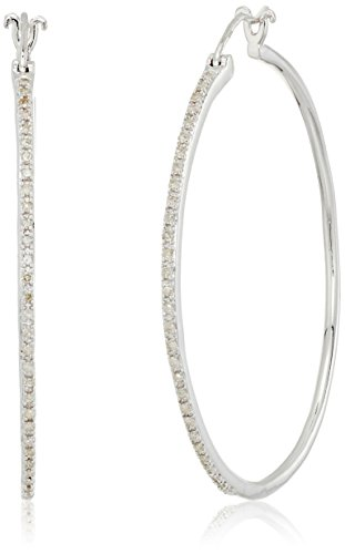 Sterling Silver Diamond Hoop Earrings (1/4 (Diamond Shaped Hoop)