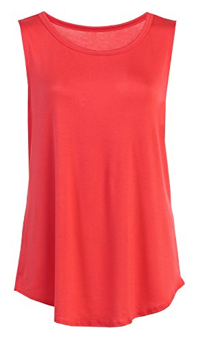 Flowy Relaxed Cool Loose Fit Tank Tops: Workout Rayon Knit Jersey Regular and Plus Size Coral XXL