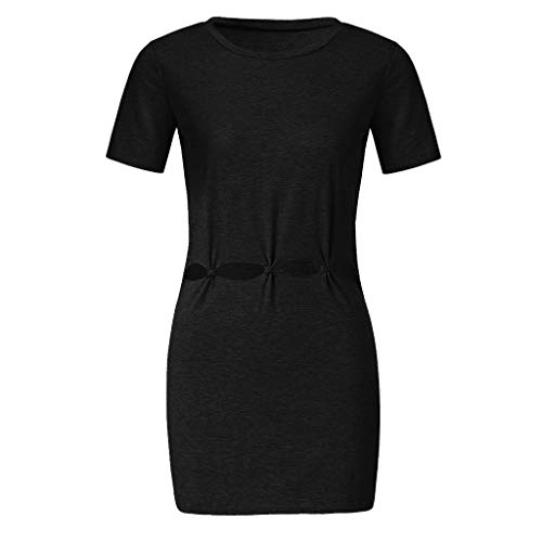 ✔ Hypothesis_X ☎ Women's Casual Crew Neck Short Sleeve T Shirt Dress Hollow Out Bodycon Mini Dress Black