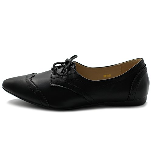 Shoe Flat Ollio Black Ballet Women's Pointed Oxford Enamel Toe RCxq1x