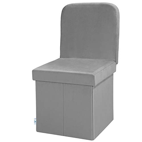 B FSOBEIIALEO Velvet Storage Ottoman with Seat Back, Folding Chair for Living Room, Room Organizer Storage Cubes, Toy Chest Storage Box (Grey, Medium)
