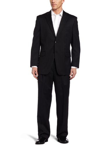 (Jones New York Men's Rubin 2 Button Side Vent Classic Fit Suit with Single Pleated Pant, Charcoal, 40 Regular)