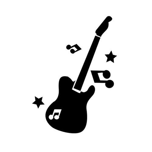 CactusAngui Wall Stickers Fashion Guitar Music Note Stars Mirror Effect Wall Sticker -