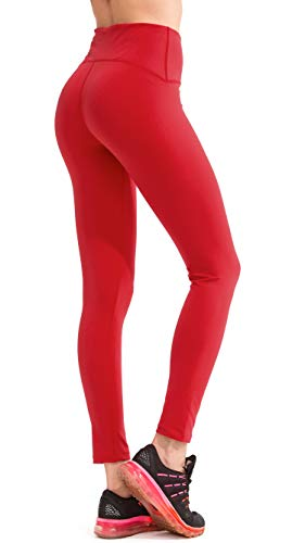 SPECIALMAGIC Women's Solid Color High Waist Non See Through Yoga Leggings with Back Pocket Red XL